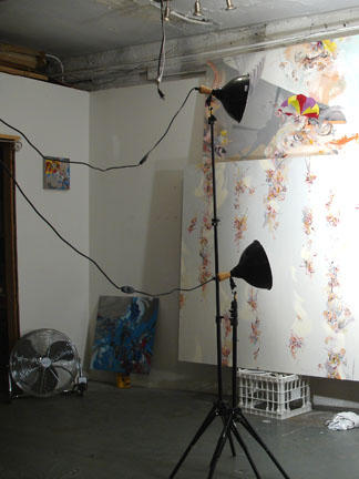 Art studio with lights, 2005